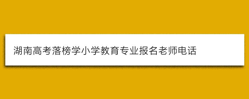 湖南高考落榜学小学教育专业报名老师电话