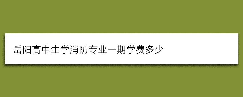 岳阳高中生学消防专业一期学费多少