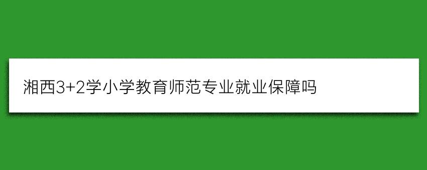 湘西3+2学小学教育师范专业就业保障吗