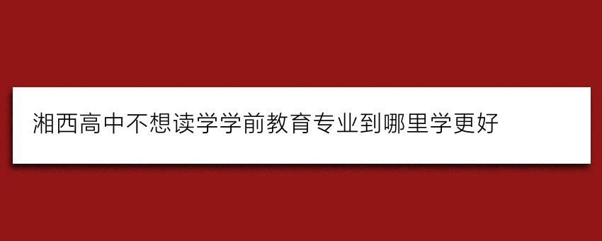 湘西高中不想读学学前教育专业到哪里学更好