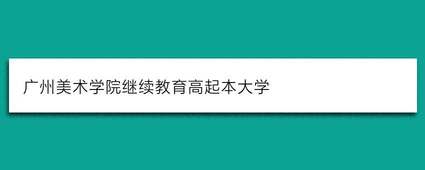 广州美术学院继续教育高起本大学