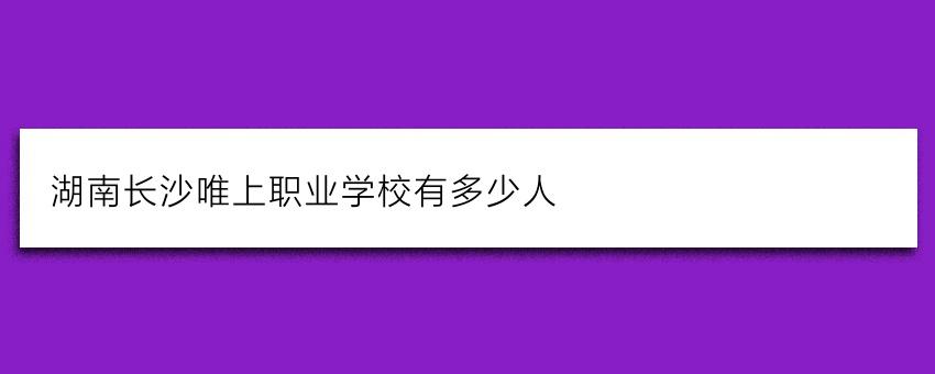 湖南长沙唯上职业学校有多少人