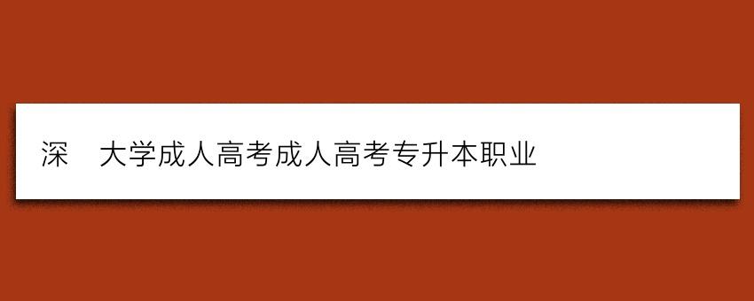 深圳大学成人高考成人高考专升本职业