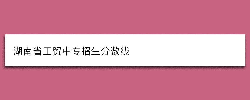 湖南省工贸中专招生分数线