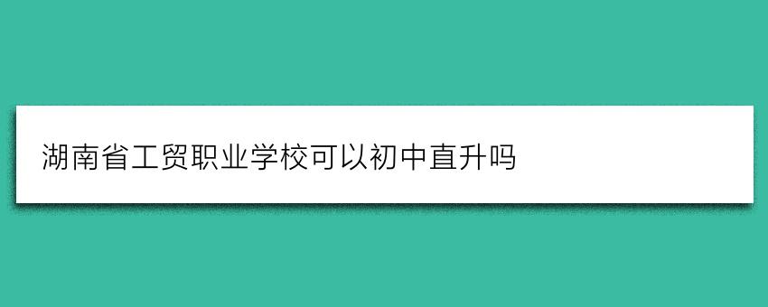 湖南省工贸职业学校可以初中直升吗